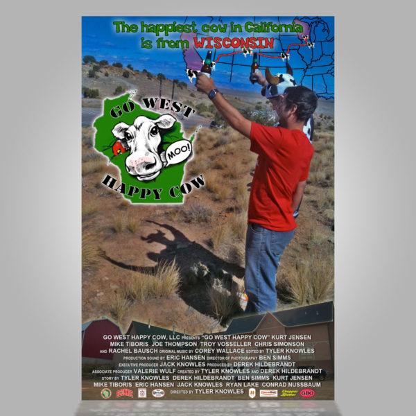 Go West Happy Cow Mini Poster