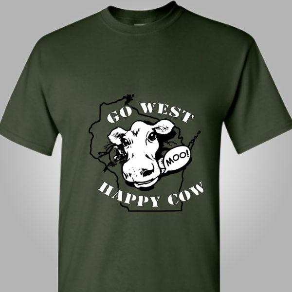 Go West Happy Cow T-Shirt Front